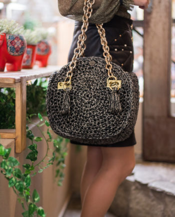 Miss Polyplexi Alkistis Black Gold Shoulder Bag