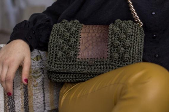 Miss Polyplexi Nefeli Brown Olive Green Shoulder Bag
