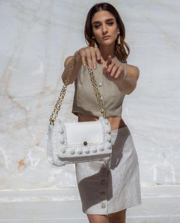 Miss Polyplexi Lydia White Shoulder/Cross-body Bag