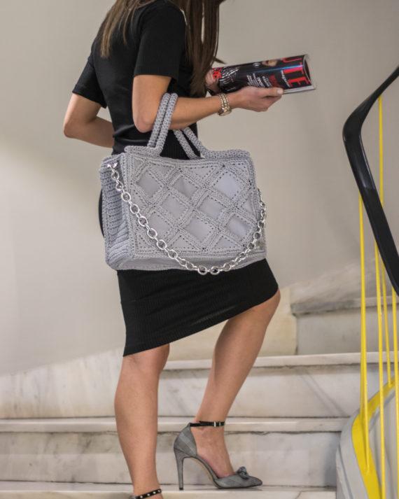 Miss Polyplexi Sylvia Ice Grey Tote Bag