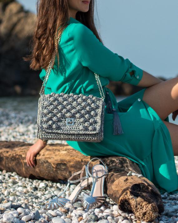 Miss Polyplexi Monaco Grey Gold Shoulder Cross-body Bag