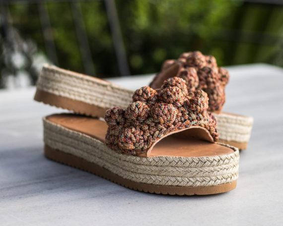 Miss Polyplexi Marilyn Vintage Orange Crocheted Sandals