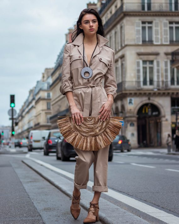 Miss Polyplexi Claudile Raffia Clutch Bag