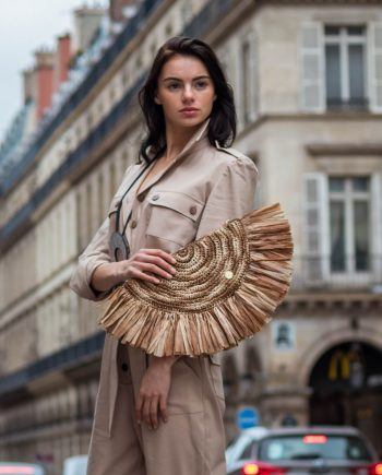 Miss Polyplexi Claudile Raffia Clutch Bag