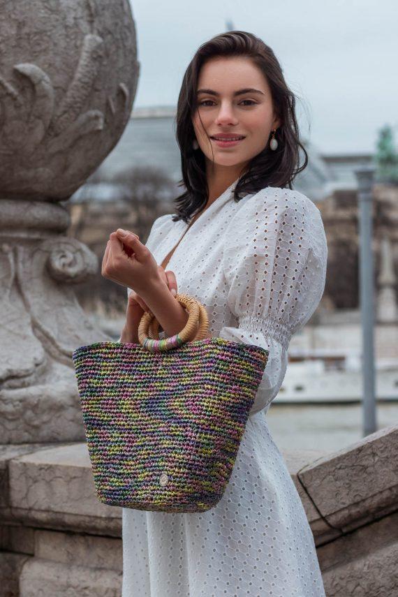 Miss Polyplexi Jeanne Multicolour Raffia Tote Bag