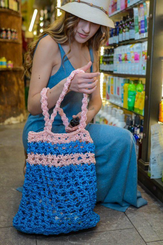 Miss Polyplexi Planet Blue Pink Net Bag