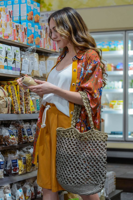 Miss Polyplexi Planet Multicolour Beige Net Bag