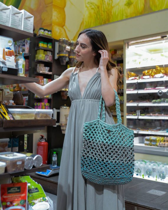 Miss Polyplexi Planet Multicolour Mint Net Bag