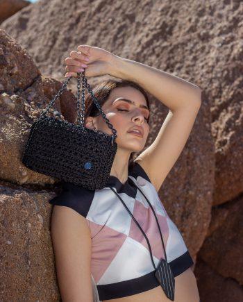 Miss Polyplexi Beatrice Sparkling Black Shoulder Bag