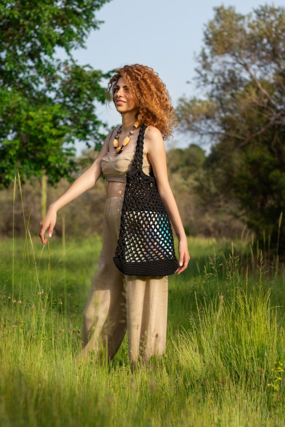 Miss Polyplexi Planet Black Net Bag