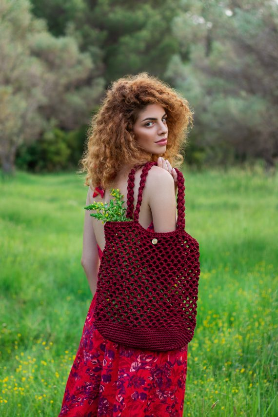 Miss Polyplexi Planet Cherry Red Net Bag