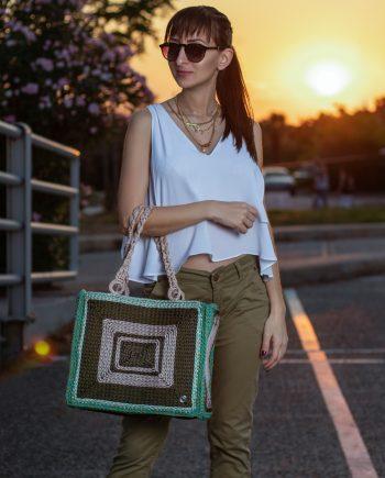 Miss Polyplexi Alfreda Olive Green Beige Tote Bag