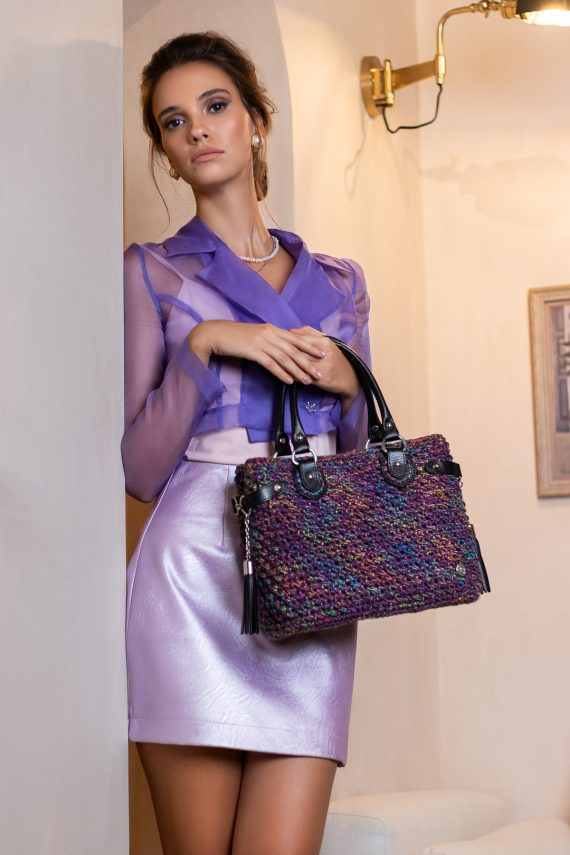 Miss Polyplexi Bryneo Lilac Multicolour Tote Bag