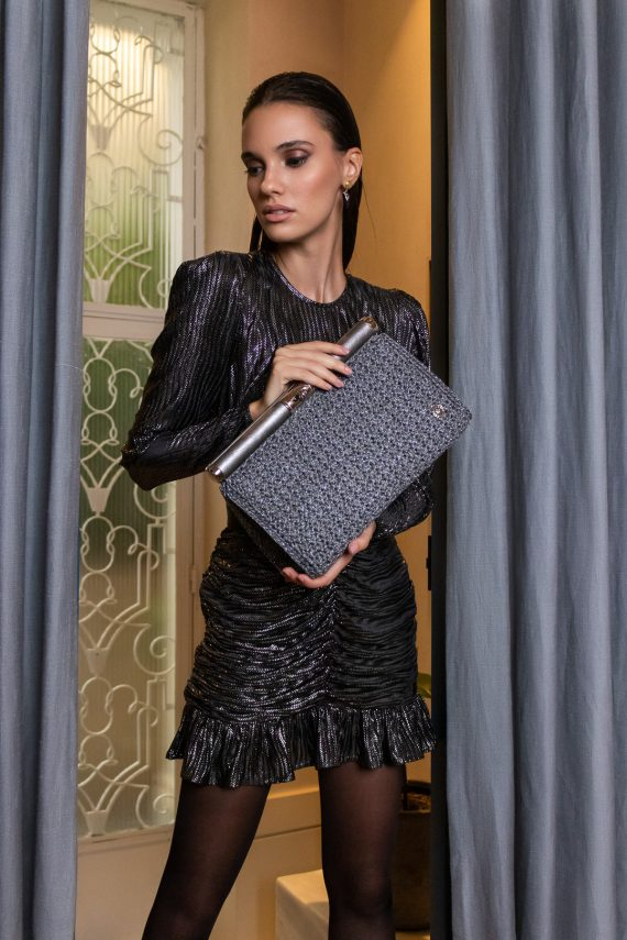 Miss Polyplexi Cuneo Silver Clutch Bag