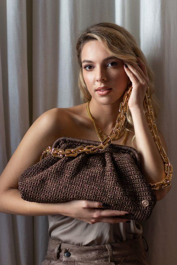 Miss Polyplexi Basilica Brown Gold Shoulder Bag