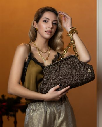Miss Polyplexi Basilica Brown Gold Shoulder Bag