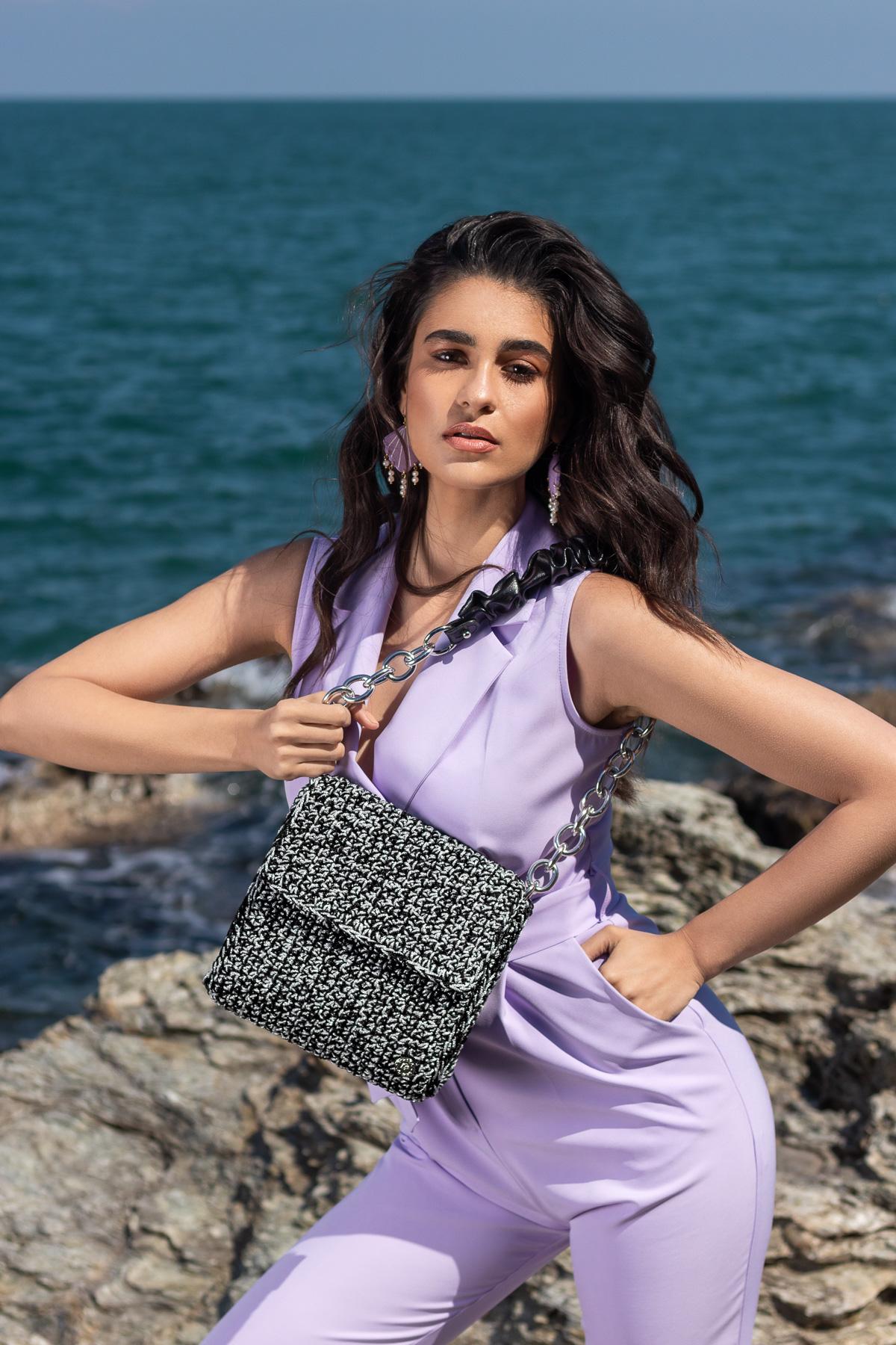 Miss Polyplexi Ostria Silver Black Shoulder Bag