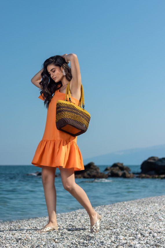 Miss Polyplexi Siderastria Brown Yellow Shoulder Bag