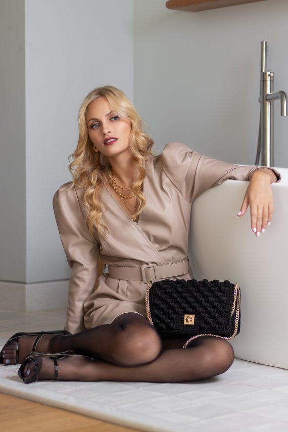 Miss Polyplexi Monaco Black Bubble Shoulder Cross-body Bag with Gold Accessories
